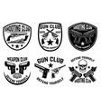 set of weapon club gun shop emblems labels with vector image
