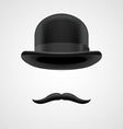 wealthy gentleman with moustaches and bowler hat vector image vector image