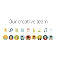 Our creative team Flat people with signs their vector image