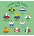 Marijuana leaves with the international flags vector image vector image