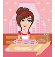 Housewife serving cookies vector image