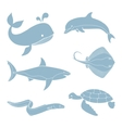 The silhouettes of sea creatures vector image