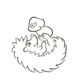 Little cute kind hedgehog lays and holds the vector image