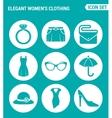 set of round icons white Elegant women s clothing vector image