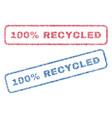 100 percent recycled textile stamps vector image