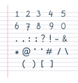 Handwritten text symbols on lined paper vector image