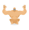 Muscled meditating Bodybuilder on white background vector image