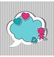Speech bubble with sticker kawaii doodles vector image vector image