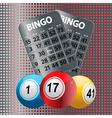 Bingo balls and metallic Bingo cards vector image