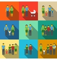 Multigenerational family flat long shadow icons vector image
