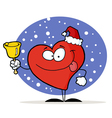 happy christmas red heart vector image