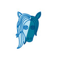 blue silhouette of front face of female horse with vector image