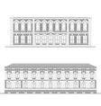 City street facades set vector image
