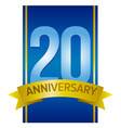 label for 20th anniversary vector image