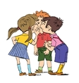 Mystery a group of children whispering vector image