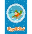 New year card cute child on snow sledding vector image