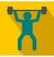 Weightlifting icon in flat style vector image