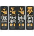 BBQ menu pizza menu seafood menu beer menu vector image