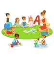Young Children Learning Alphabet And Playing In vector image