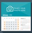 January 2016 Desk Calendar for 2016 Year Week vector image