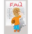 Faq little boy vector image
