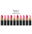 lip stick collection cosmetics colors set vector image