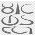 set of curved highway tracks vector image
