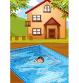 A kid swimming at the pool vector image vector image