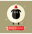 Christmas Card with Sheep over Brown vector image