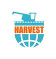 harvest logo agriculture emblem combine harvester vector image