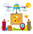 pizza delivery drone flat style colorful vector image