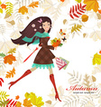 Smiling girl with bouquet of fall colorful leaves vector image