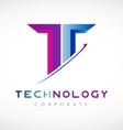 Tech letter T alphabet logo icon design vector image