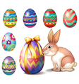 Colorful Easter eggs and a bunny vector image vector image