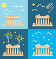 Flat design 4 styles of Parthenon Athens Greece vector image