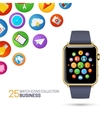 Smart watch with black wristband vector image vector image