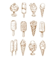 Refreshing ice cream and popsicles sketches vector image