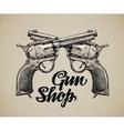 Crossed Pistols Hand drawn sketch Gun vector image