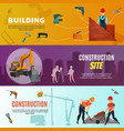 construction workers horizontal banners vector image