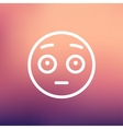 Frightened face thin line icon vector image