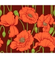 seamless pattern of red poppies on dark background vector image