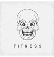 skull with kettlebells in eyes grunge fitness vector image