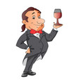 waiter holding a wineglass vector image