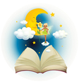 An open book with an image of a fairy and a vector image vector image