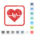heart pulse icon rubber watermark vector image