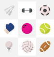 set of 9 editable active flat icons includes vector image