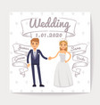 wedding invitation card with just married young vector image