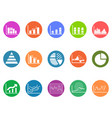 graph chart round button icons set vector image vector image