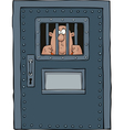 prison door with a prisoner vector image vector image