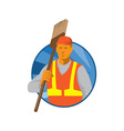 janitor cleaner sweeper with broom retro vector image